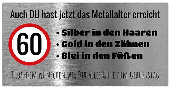 Spassbanner zum Geburtstag | Geburstagsbanner Metallalter | Banner zum 60 Geburstag | PVC-Banner | Banner drucken | Online gestalten |