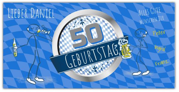 50. Geburtstag   Geburtstagsbanner   Bayerische Fahne   Raute   Banner zum 50 Geburtstag   Geburtstag  