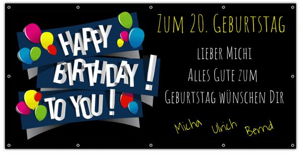 Geburtstags Banner zum 20 Geburtstag