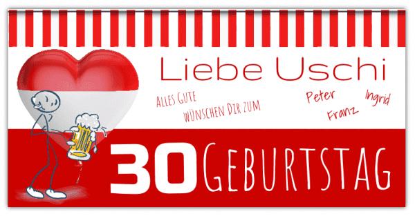 Geburtstagsbanner | Österreich | Österreich Edition | Banner zum Geburtstag | 30 Geburtstag
